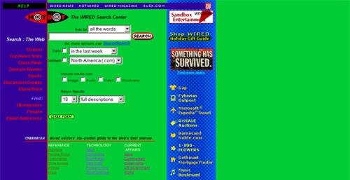 Moteur de recherche Hotbot en 1997