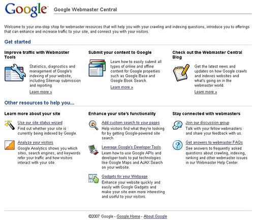 Google Webmaster Tool new look